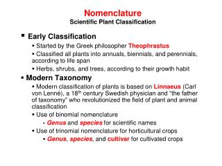 Nomenclature Scientific Plant Classification