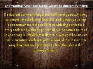 Showcasing American Made Classy Restaurant Furniture