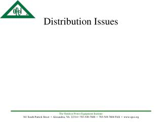 Distribution Issues