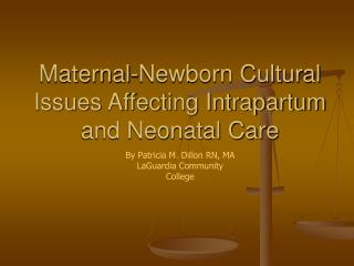 Maternal-Newborn Cultural Issues Affecting Intrapartum and Neonatal Care