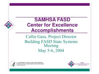 SAMHSA FASD  Center for Excellence  Accomplishments