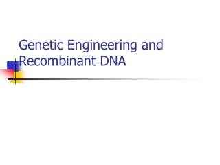 Genetic Engineering and Recombinant DNA
