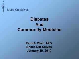 Diabetes And   Community Medicine