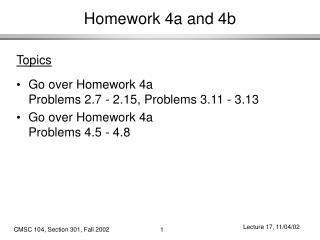 Homework 4a and 4b