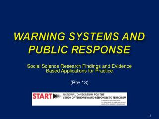 WARNING SYSTEMS AND PUBLIC RESPONSE