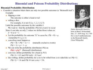 Binomial and Poisson Probability Distributions