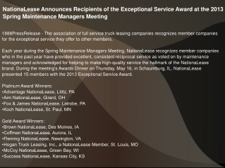 NationaLease Announces Recipients of the Exceptional Service