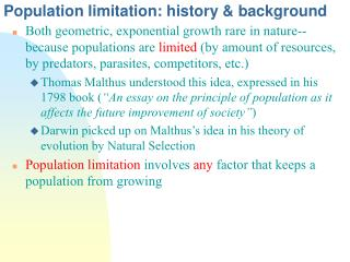 Population limitation: history & background