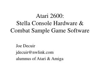 Atari 2600: Stella Console Hardware  Combat Sample Game ...