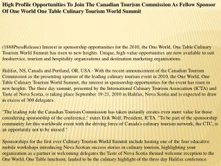 High Profile Opportunities To Join The Canadian Tourism Comm