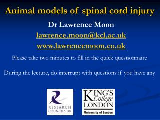 Animal models of spinal cord injury