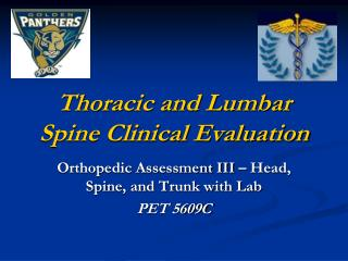 Thoracic and Lumbar Spine Clinical Evaluation