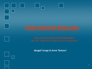 International Boycotts .