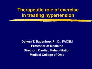Therapeutic role of exercise  in treating hypertension