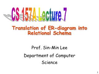 Translation of ER-diagram into Relational Schema