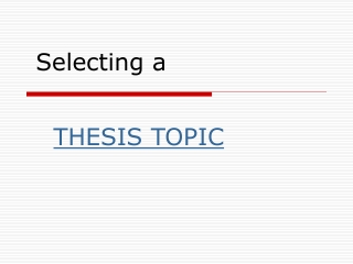 Selecting Thesis Topic
