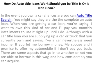 How Do Title Loans Work