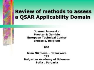 Review of methods to assess a QSAR Applicability Domain