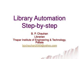 Library Automation Step-by-step