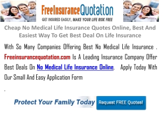 Cheapest No Medical Life Insurance Quotes Online