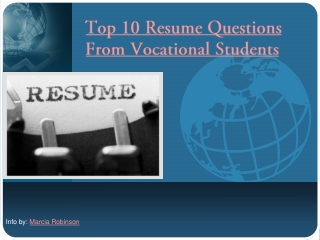 Top 10 Resume Questions From Vocational Students