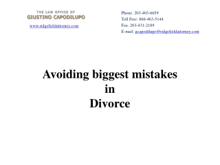 Avoiding biggest mistakes in Divorce