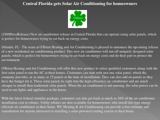 central florida gets solar air conditioning for homeowners