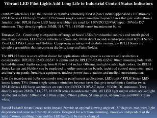 vibrant led pilot lights add long life to industrial control