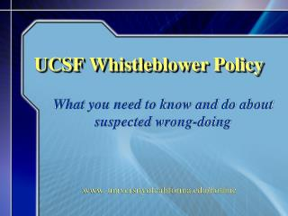UCSF Whistleblower Policy