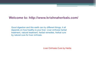 Liver Cirrhosis Herbal Remedies