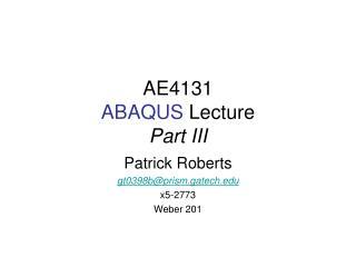 AE4131 ABAQUS  Lecture Part III