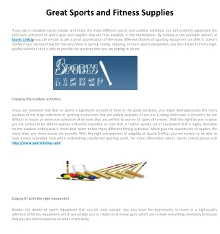 Great Sports and Fitness Supplies