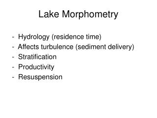 Lake Morphometry