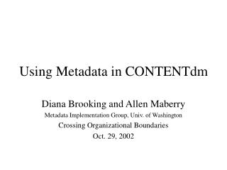 Using Metadata in CONTENTdm