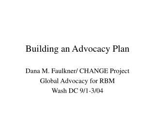 Building an Advocacy Plan