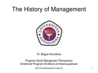 The History of Management