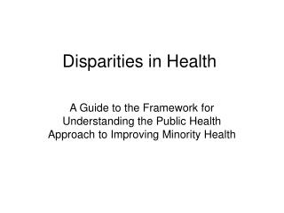 Disparities in Health