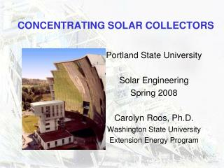 CONCENTRATING SOLAR COLLECTORS