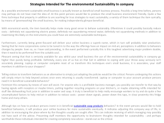 Strategies Intended for The environmental Sustainability In