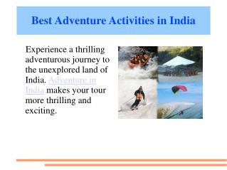 best adventure sports in india
