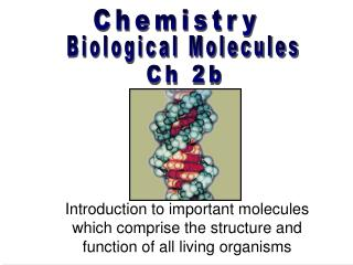 Introduction to important molecules which comprise the structure and function of all living organisms