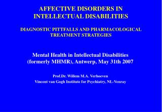 AFFECTIVE DISORDERS IN INTELLECTUAL DISABILITIES DIAGNOSTIC ...