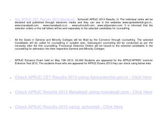 APRJC CET Results 2013 Manabadi