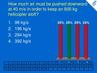 How much air must be pushed downward at 40 m/s in order to keep an 800 kg helicopter aloft?