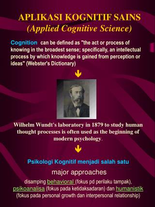 APLIKASI KOGNITIF SAINS Applied Cognitive Science
