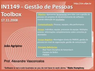 IN1149 - Gestão de Pessoas Toolbox 17.11.2008
