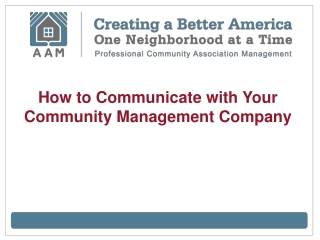 How to Communicate with Your Community Management Company