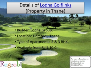 Lodha Golflinks offers 2/3 BHK Villas in Dombivli, 1.10 Cr.