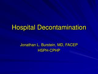 Hospital Decontamination