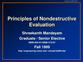 Principles of Nondestructive Evaluation